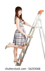 Sexy girl in checked dress on stepladder over white