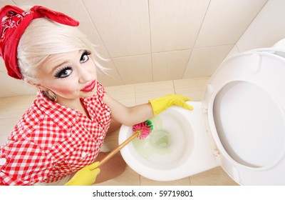 Sexy girl cleaning toilet, similar available in my portfolio