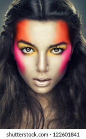 sexy girl with eye shadows on face