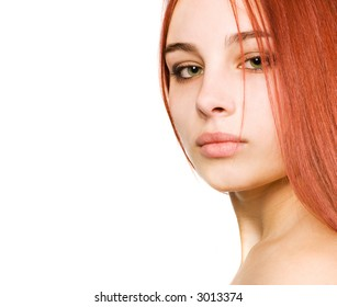 Sexy girl with green eyes and red hair
