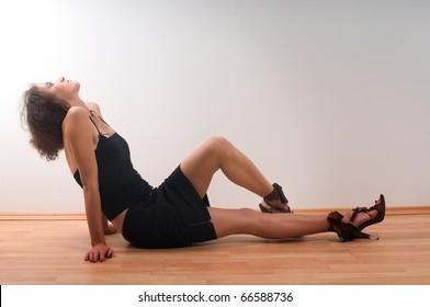 Sexy girl model posing in fashion dress