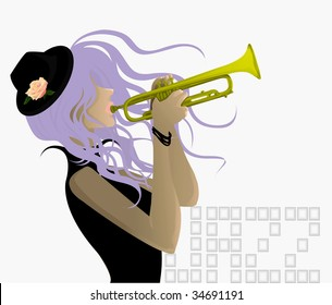 sexy girl playing the trumpet