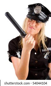 Sexy girl in police uniform is menacing