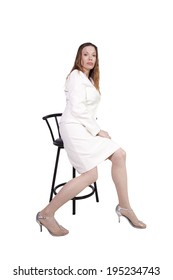 Sexy Girl Posing on a Chair - Isolated Background