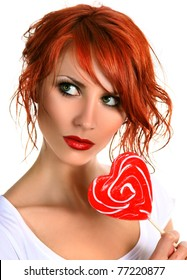 sexy girl with red lollipop