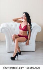 Sexy girl in red underwear.
