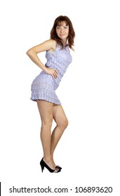 Sexy girl in short dress. Isolated  over white background