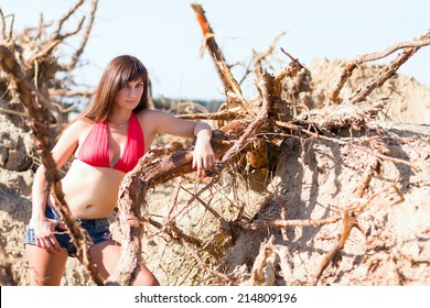 sexy girl standing and posing in the tree roots at the sand background