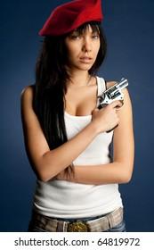 Sexy girl whit a gun