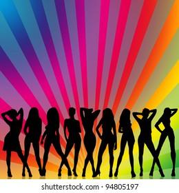 Sexy girls  dancing disco