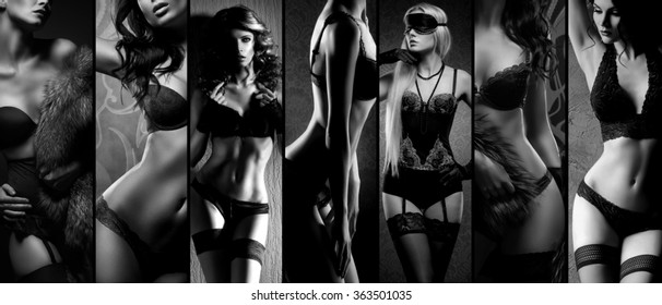Sexy girls in erotic lingerie. Underwear collection in black and white.