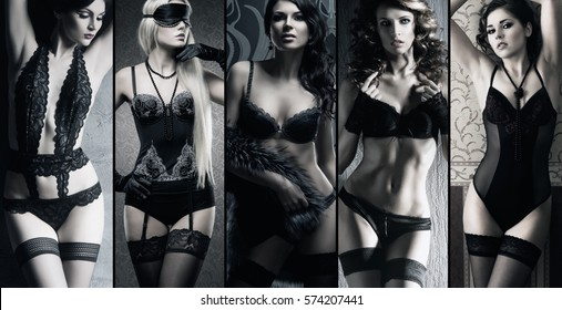 Sexy girls in erotic lingerie. Underwear collection in black and white. Glamour concept.
