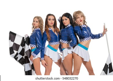 Sexy girls in formula one race jacket keeping flag