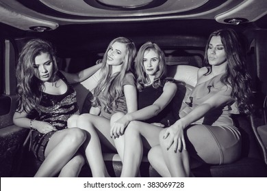 Sexy girls. Party in the car. Black and white