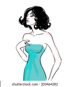 Sexy glamour brunette lady in green dress. Ink fashion illustration isolated on white.