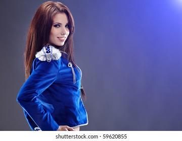 Sexy glamour girl wearing blue jacket