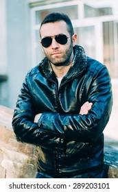 Sexy Guy Attitude Wearing Leather Jacket Stock Photo Edit Now