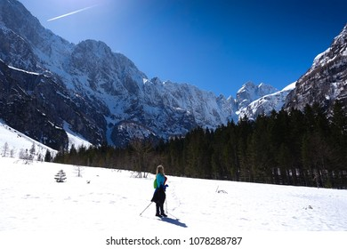 Sexy hiking woman in Tamar, Kranjska Gora, Slovenia. Slovenian alps, Europe