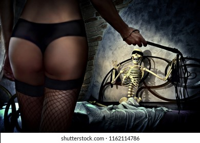 sexy horror mistress harassing a scary skeleton