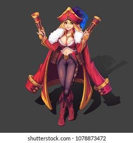 Sexy, Hot and Beautiful Twin Blaster Pirate Girl with Anime and Cartoon Style. Video Game's Digital CG Artwork, Concept Illustration, Realistic Cartoon Style Character Design