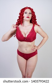 7bfad80c32c sexy hot curvy girl with red curly hair wearing lace sexy lingerie and high  heels in