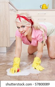 Sexy housewife cleaning the floor, similar available in my portfolio