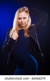 sexy lady in a dark studio