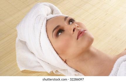 Sexy lady getting spa treatment
