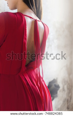 Sexy Lady In Red Dress With Naked Back