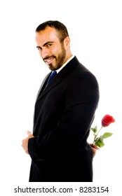 Sexy Latin Guy with Red Rose