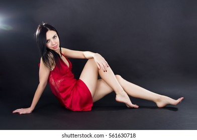 Sexy leggy girl in a mini dress