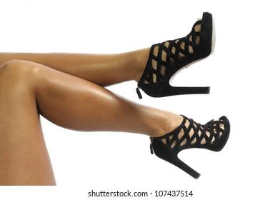 Sexy legs in black high heels