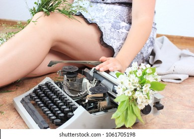 Sexy legs, Romantic spring background, a Beautiful woman, Write a poem