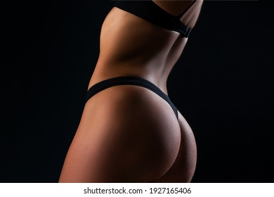 Sexy lingerie. Women ass in black pants. Butt in panties. Luxury buttocks. Sensual seductive young girl
