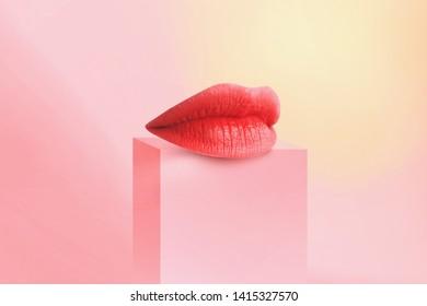 Sexy Lip. Close-up Beautiful lips. A girl with beautiful plump lips, painted blue lipstic.