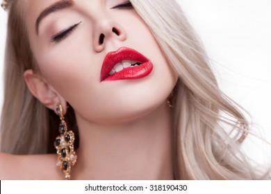 Sexy Lips, Big Seductive Lips, Mouth Open. Seductive Female Lips. Plump Lips, Large mouth Open, Sexy Mouth. Sexy Women  Mouth. Close-up Beautiful Fashion  Portrait  Gorgeous Plump Red lip