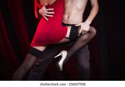 Sexy loving couple embrace.