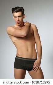 Sexy Male Model In black Underwear