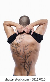 Sexy male's back with tattoo