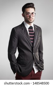 sexy man dressed elegant with s sock tie looking serious - funny concept