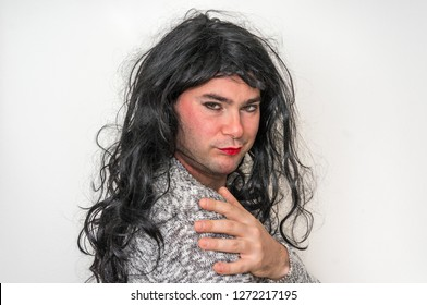 Sexy man dressed as woman - transsexual and bisexual concept