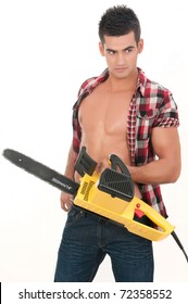 sexy man with electrical saw