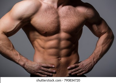 Sexy man with muscular body and bare torso. Athletic caucasian, sexual macho. Muscular athletic sexy male, naked torso. Muscular man, male naked, healthy muscular guy, torso man.