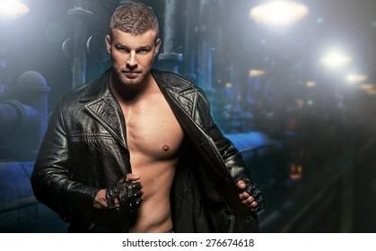 Sexy Man on Dark Background