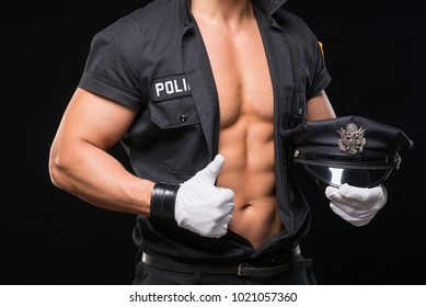 sexy man in police uniform
