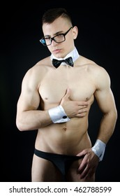 Sexy man. Striptease and beautiful body. Sex and passion.