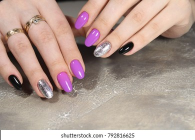 Sexy Manicure On Long Nails Pink Black Silver