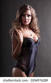 Sexy Model in Black Combi