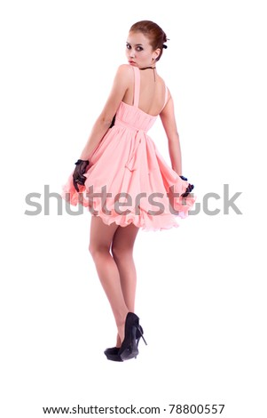 234385657 Sexy Model Poses Pink Dress Isolated Stock Photo (Edit Now) 78800557 ...