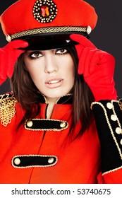 Sexy model wearing glamor uniform